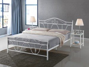 Kovinska postelja IVA300 bela